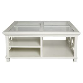 Whitehaven Hamptons Style White Timber Square Glass Top
