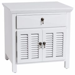 """Alton"" Hampton Style Bedside Table in White with 1 Drawer, 60cmW x 50cmD x 60cmH"