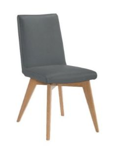"*CLEARANCE FLOOR STOCK* ""Marsden"" Dining Chair Genuine Top Grain Leather Grey"