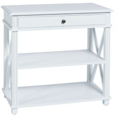 """Carlton"" Large Bedside Table in White with 1 Drawer and 2 Shelves"