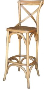 """Noosa"" Timber Rattan Bar Stool Crossback Oak, 42cmL x 42cmD x 112cmH. Seat height: 76cm"