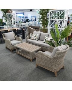 """""""Tahiti"""" Hamptons Style Timber & Wicker Outdoor Package includes 3 Seater Lounge, Armchairs & Coffee Table"""
