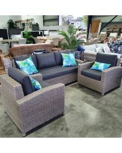 """""""Sophie"""" Hamptons Style Outdoor 3 Piece Setting with 3 Seater Lounge and 2 Single Lounges Grey Cushions"""