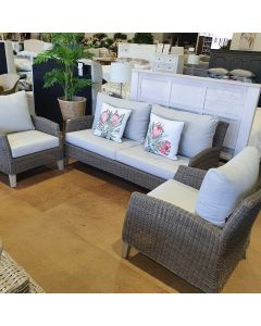 """""""Collaroy"""" Hamptons Style Outdoor 3 Piece Wicker Lounge Setting with 3 Seater + 2 x Armchairs (RRP $2799)"""