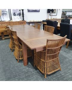 """""""Morgan"""" Ends Extension Solid Timber Dining Table 1800-2800mm in Walnut Oak finish"""