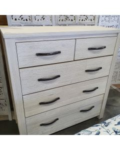 """Avalon"" Coastal Style Timber 2 over 3 Drawer Tallboy Bedroom Whitewash, 102cm x 40.5cm x 107.3cm"