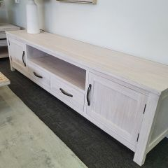 """Avalon""  Coastal Style TV Timber Entertainment Unit with 2 Drawers Whitewash, 216cm x 45cm x 55.5cm"