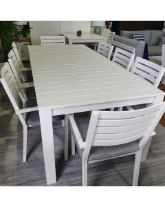 """""""Kendra"""" Hamptons Style Aluminium Outdoor Dining Package with 8 Mayfair chairs, 220cmL x 100cmW"""