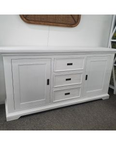 """Coast"" Hamptons Style Buffet 2 Door 3 Drawer, Brushed White, 180cmW x 47cmD x 90cmH"