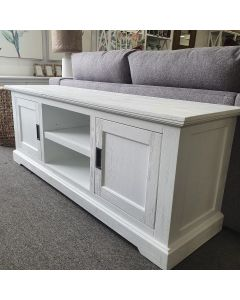 """Cove"" Hamptons Style TV Unit 2 Door 2 Niche, Brushed White, 160cmW x 45cmD x 60cmH"