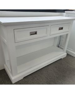 """Cove"" Hamptons Style Console Table 2 Drawer, Brushed White, 125cmW x 38cmD x 80cmH"
