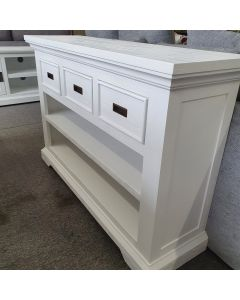 """Coast"" Hamptons Style Console Table 3 Drawer, Brushed White, 120cmW x 35cmD x 80cmH"
