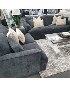 """CLEARANCE SALE """"Huxley"""" Luxe Hamptons Style 3.5 Seater & 2 Seater Feather Filled Sofa Lounge with Superior Comfort, Mid Grey (Smoke) Fabric (RRP $3499)"""