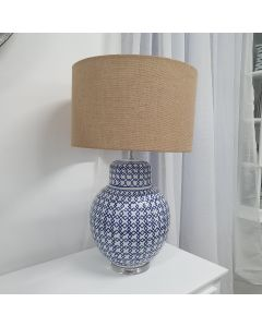 """Montauk"" Hamptons Style Lamp, Blue & White Ceramic base, Natural Hession shade, 72cmH"