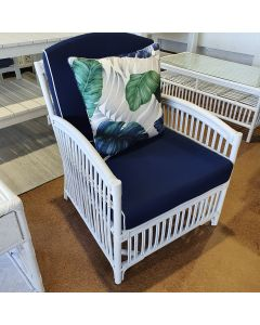 """Alfresco"" Armchair Rattan Lounge in White with Navy Cushions White Piping, 82cmL x 68cmW x 86cmH"