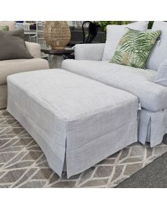 """Somerset"" Hamptons Style Fabric Ottoman with Hardwood Frame Glacier, 120cmL x 63cmD x 45cmH"