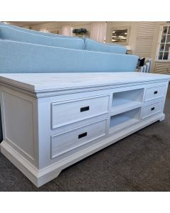 """CLEARANCE SALE  """"Coast"""" Hamptons Style Solid Timber TV Media Entertainment Unit White, 200cmL x 55cmD x 60cmH (RRP $1499)"""