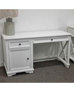 """Emily"" Hamptons Style Timber Study Desk White, 140cmL x 55cmD x 75cmH"