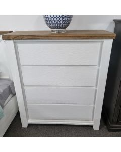 """Jefferson"" Hamptons Style Timber Tallboy Two Tone, 106cmL x 45cmD x 120cmH"