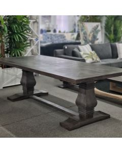 """Tuscany"" Hampton Style Solid Timber Dining Table with Pedestal Base Dark Grey, 240cm x 110cm"