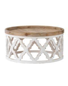 """Haven"" Lattice Round Coffee Table in Distressed White, 81cm x 81cm x 40cmH"