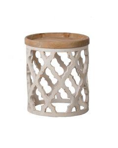 """Haven"" Lattice Round Side Table in Distressed White, 50cm x 50cm x 58.5cmH"