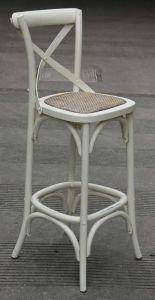 """Noosa"" Oak Hardwood Timber Cross Back Bar Stool 76cm SEAT HEIGHT Antique White"