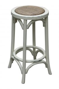 """Noosa"" Timber Kitchen Counter Bar Stool Chair Antique White, 35cmL x 35cmD x 65cmH"