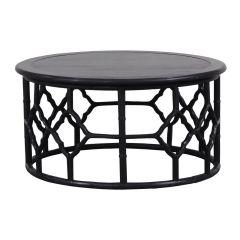 """Chinois"" Hampton Style Black 90cm Round Coffee Table"