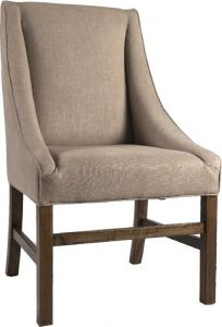 """Belle""  Hamptons Style Natural Linen Dining Chair Beige"