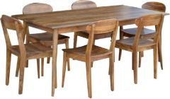 """Retro"" Solid Hardwood Timber Dining 7 Piece Table & Chairs Package"