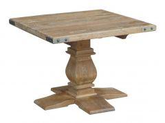 """Montego"" Hamptons Style Solid Hardwood Lamp Side Table with Metal Corners, 70x70xH60cm"