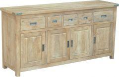"""""""Montego"""" Hamptons Style Solid Hardwood Buffet Sideboard with Metal Corners, 180x50xH90cm"""