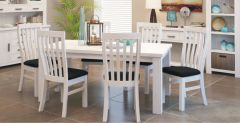 """Seaforth"" Solid Timber Dining Table 180cm Chairs Package White"