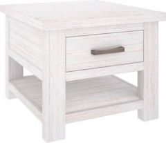 """Seaforth"" Solid Hardwood Timber 1 Drawer Side Table Whitewash"