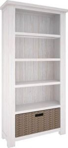 """Seaforth"" Hamptons Solid Hardwood Timber Bookshelf Whitewash"