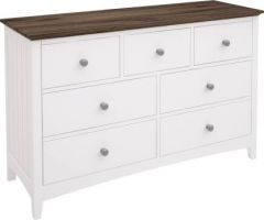 """""""Havana"""" Hamptons Style Timber White Dresser with 7 Drawers"""