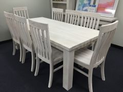 """Seaforth"" Solid Timber Dining Table 210cm Chair Package White"