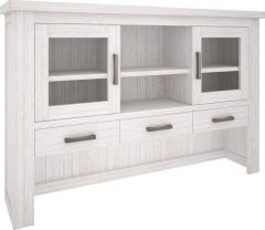 """Seaforth"" Solid Hardwood Timber Hutch Whitewash, 170cmL x 35cmW x 110cmH"