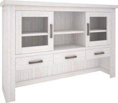 """Seaforth"" Solid Hardwood Timber Hutch 170cm Whitewash"