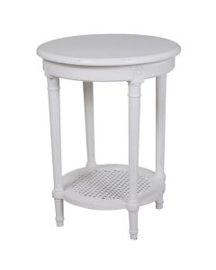 """""""Paloma"""" Hamptons Style Round Side Lamp Table with Rattan Shelf in White, 50cm x 50cm x 65cmH"""