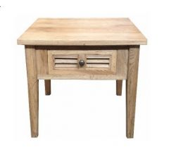 """Palm Beach"" Timber Lamp Side Table 1 Drawer Oak, 55cm x 55cm x 50cmH"