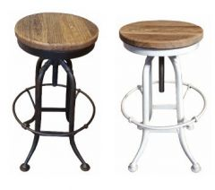"""""""Xavier"""" Vintage Industrial Stool Metal Base With Timber Top"""