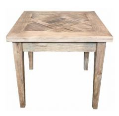 """Marrakesh"" Hardwood Parquetry Lamp Table with tapered legs Recycled Elm, 55cm x 55cm x 50cmH"