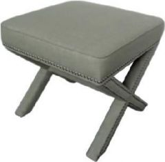 """Coralie"" Hamptons Style Studded Square Footstool Upholstered linen Beige Fabric Ottoman, 55x55m"