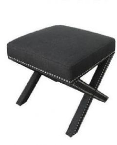 """Coralie"" Hamptons Style Studded Square Footstool Upholstered Charcoal Fabric Ottoman, 55x55m"