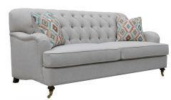 """Florence"" Hamptons Style Chesterfield Linen Fabric Lounge Sofa 2 Seater Beige"