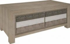 """FLOOR STOCK CLEARANCE SALE """"Beachside"""" Hardwood Timber Coffee Table with 2 Drawers"""