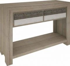 """""""Beachside"""" Hardwood Timber Console Table with 2 Drawers and Shelf"""