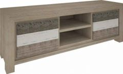"""Beachside"" Hardwood Timber TV Unit with 2 Drawers and 2 Niches"